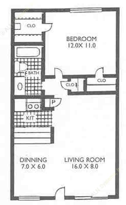 576 sq. ft. VP A2 floor plan