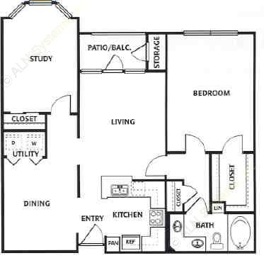 1,073 sq. ft. D floor plan