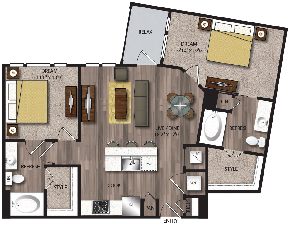 1,005 sq. ft. B3.1 floor plan