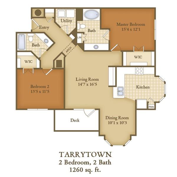 1,260 sq. ft. B2 floor plan