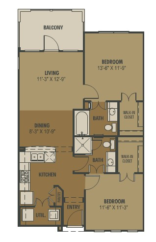 952 sq. ft. Pacifico floor plan