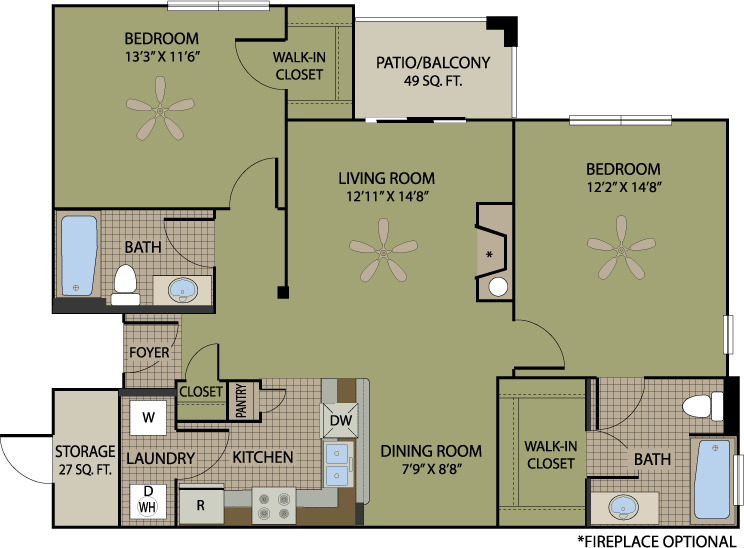 1,022 sq. ft. Riesling floor plan