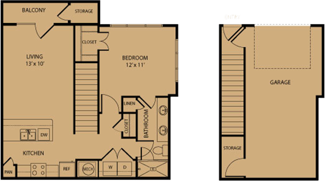694 sq. ft. Blanco floor plan