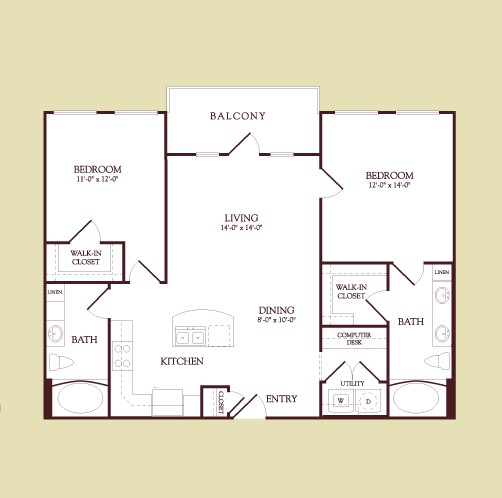 1,062 sq. ft. MATISSE floor plan