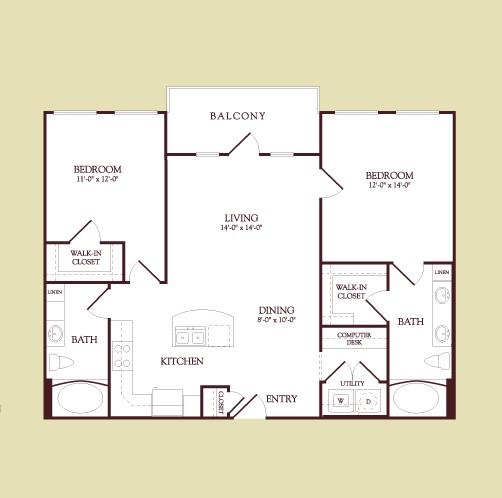 1,062 sq. ft. Matisse floor plan