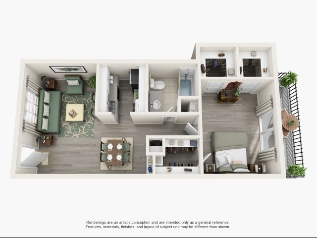 714 sq. ft. A floor plan