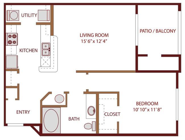 706 sq. ft. Awake floor plan