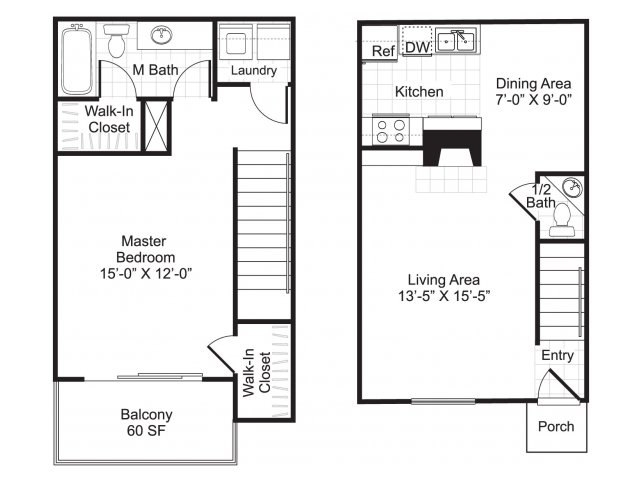 823 sq. ft. A4/Perch floor plan