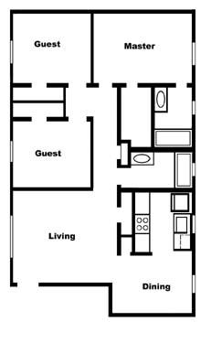 994 sq. ft. B3 floor plan