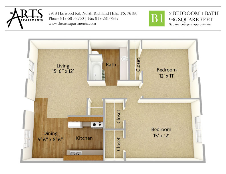 936 sq. ft. B1 floor plan