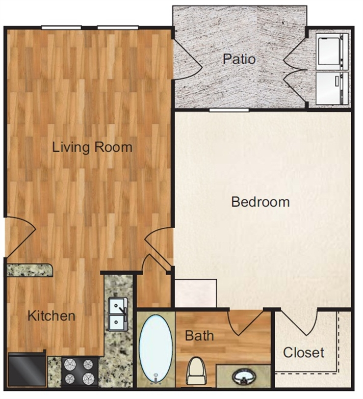 597 sq. ft. Trinity floor plan
