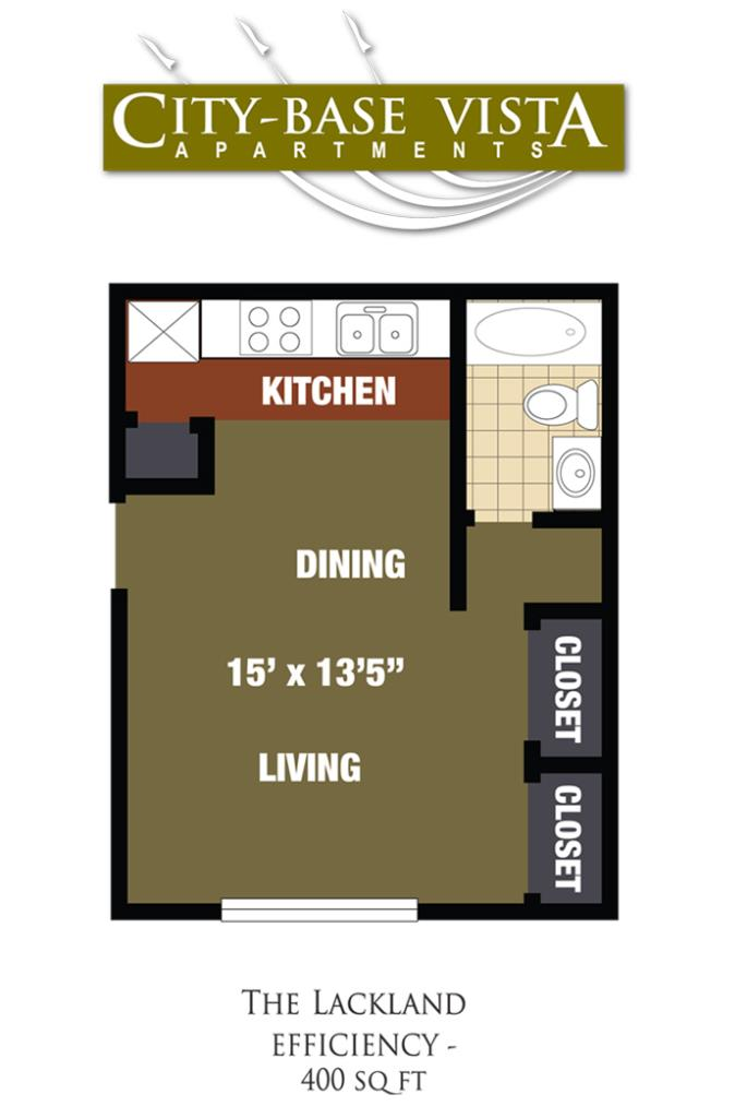 400 sq. ft. Lackland floor plan
