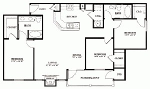 1,319 sq. ft. C1 floor plan