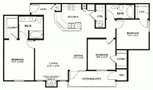 1,319 sq. ft. C1 floor plan