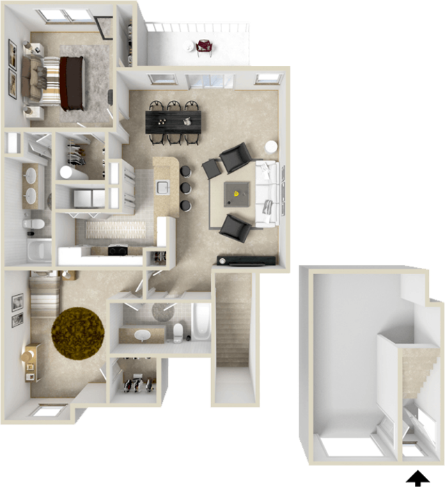 1,102 sq. ft. B5 floor plan