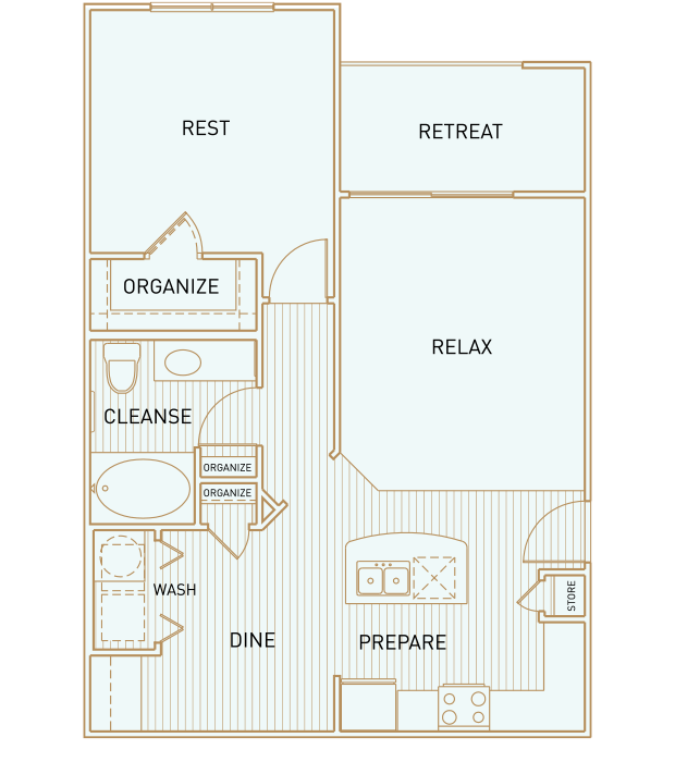 775 sq. ft. A3 floor plan