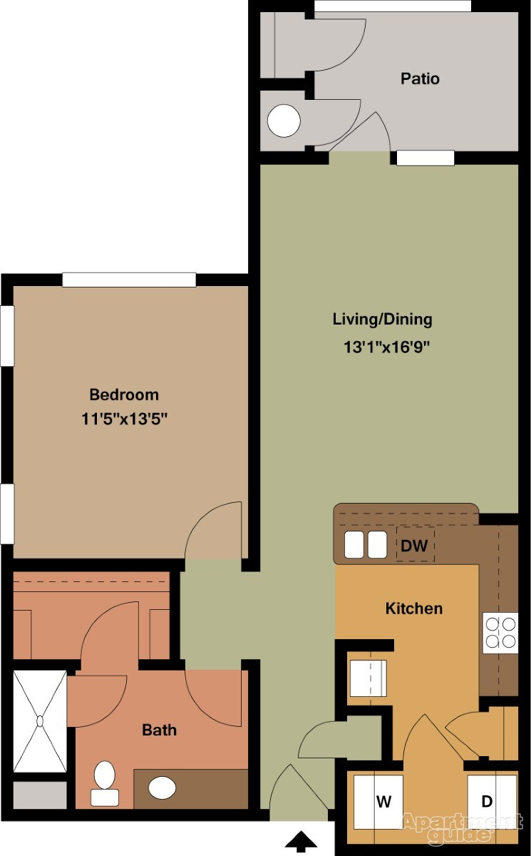 770 sq. ft. Miller/Mkt floor plan