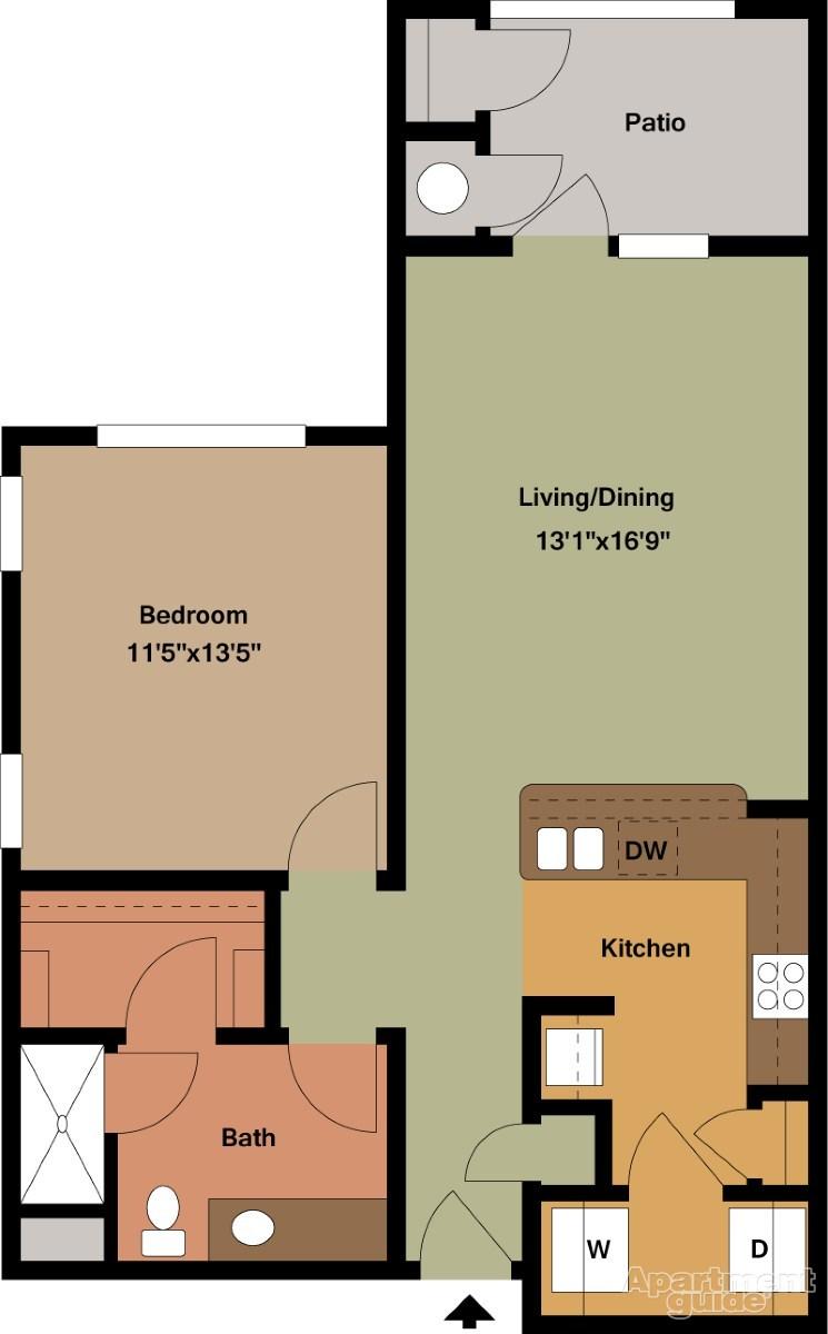 770 sq. ft. Miller/Mkt floor plan