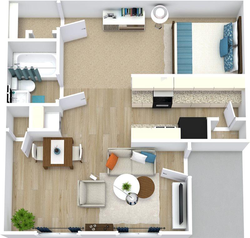 556 sq. ft. Jasmine floor plan