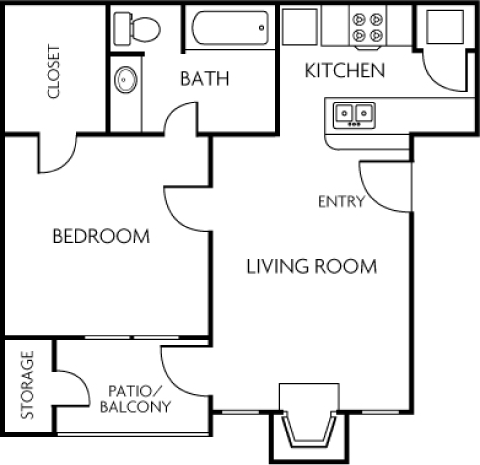 992 sq. ft. 2A floor plan