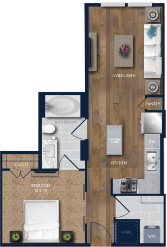 631 sq. ft. A4 floor plan