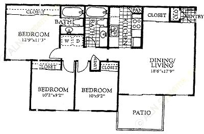 1,003 sq. ft. C1 floor plan