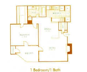 706 sq. ft. A6 floor plan