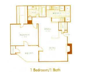 706 sq. ft. A6 floor plan