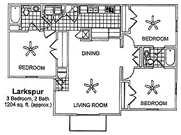 1,204 sq. ft. LARKSPUR floor plan