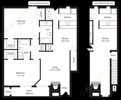 1,037 sq. ft. B2 floor plan
