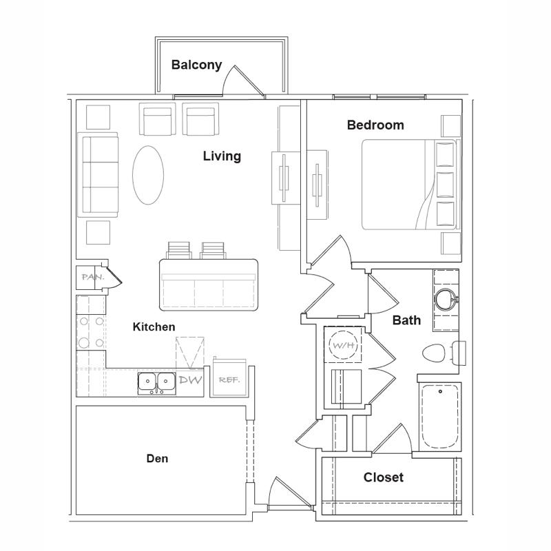 709 sq. ft. Presidio floor plan