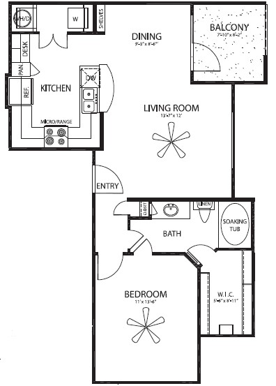742 sq. ft. Emory floor plan
