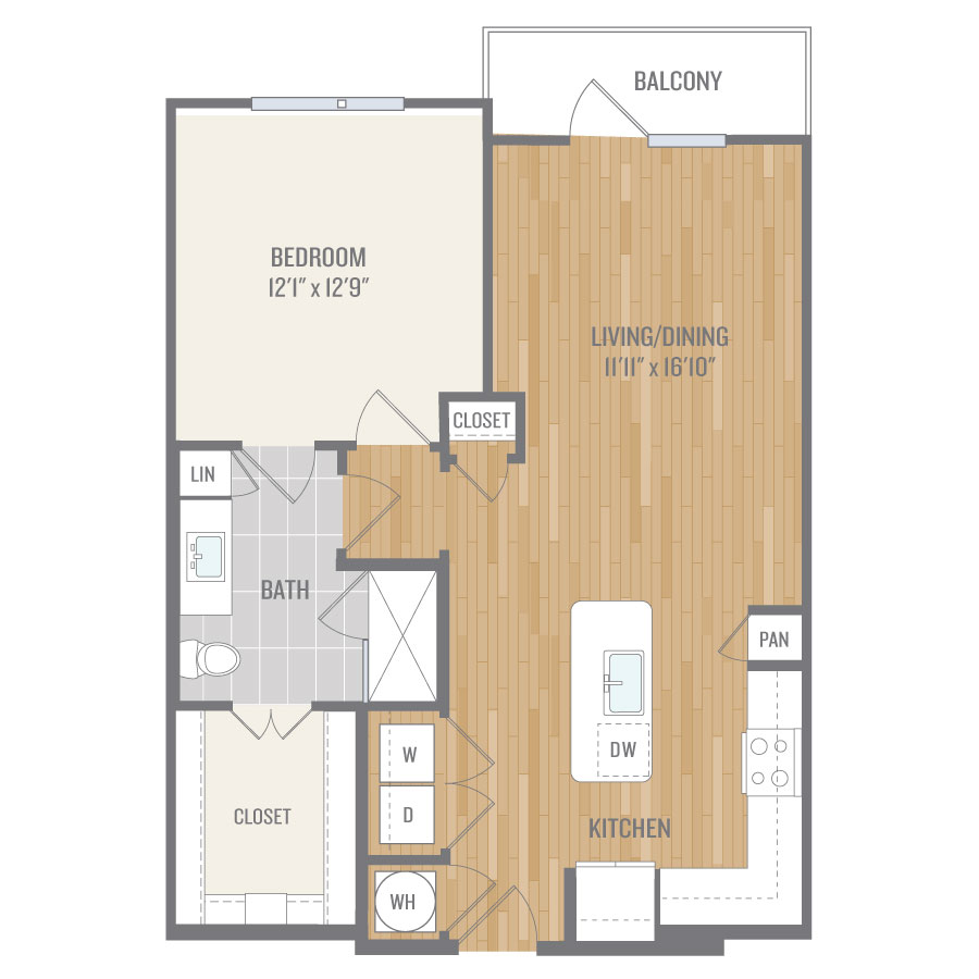 801 sq. ft. A7-1 floor plan