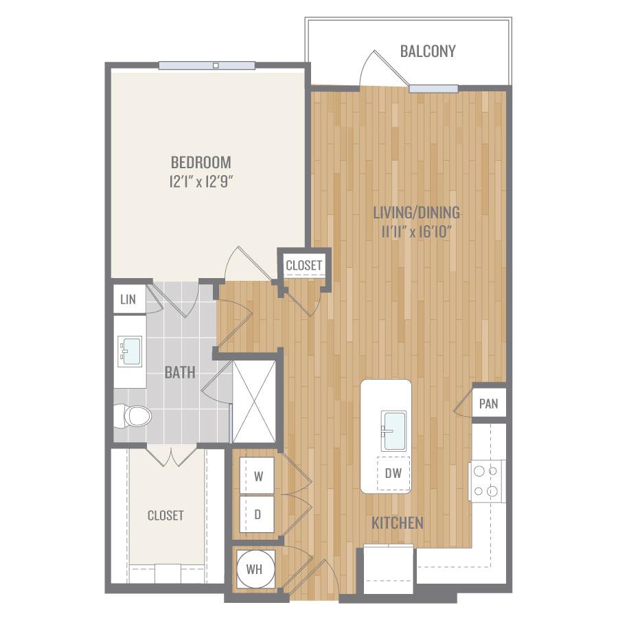 801 sq. ft. A7-1 floor plan