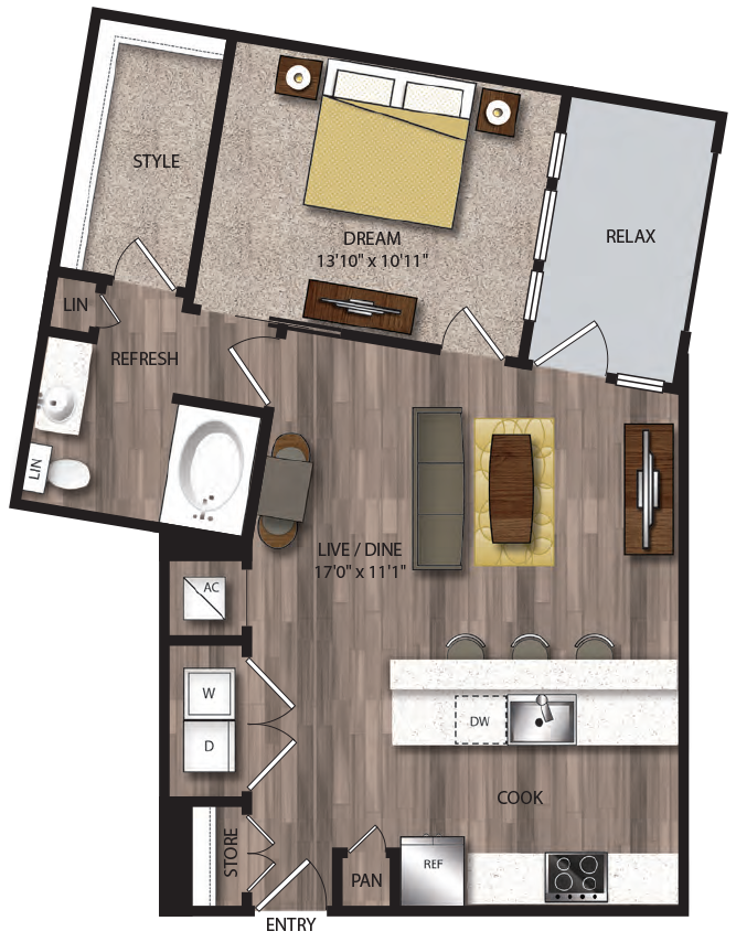 819 sq. ft. A10.1 floor plan