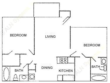 930 sq. ft. Plan D floor plan