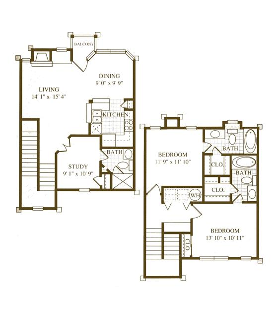 1,345 sq. ft. C1 floor plan