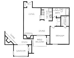 820 sq. ft. A3S floor plan
