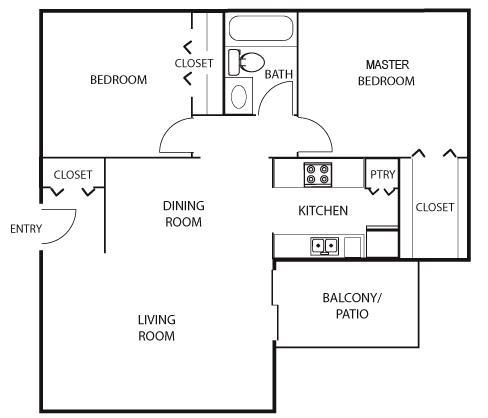 810 sq. ft. B1 floor plan