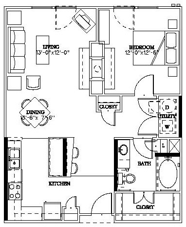 812 sq. ft. Munger floor plan