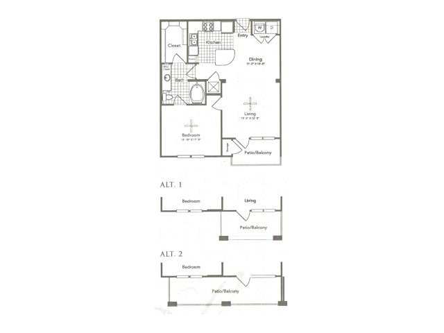 783 sq. ft. A3A West floor plan
