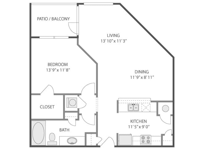 793 sq. ft. Parthenon/A3F floor plan