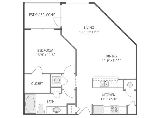 793 sq. ft. Pantheon/A3F floor plan