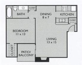 670 sq. ft. A1(South) floor plan