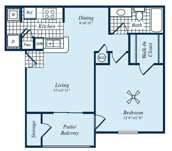641 sq. ft. Barrington floor plan