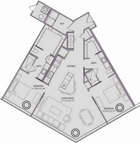 1,301 sq. ft. B1.1 floor plan