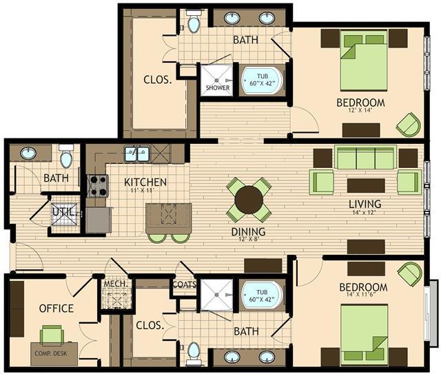 1,574 sq. ft. Rembrandt floor plan
