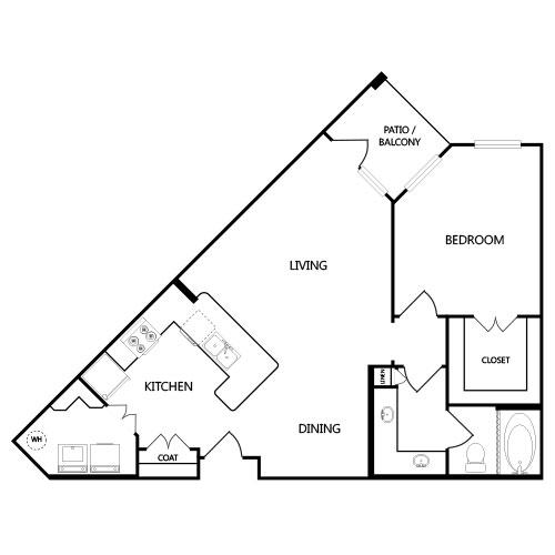 829 sq. ft. A3 floor plan