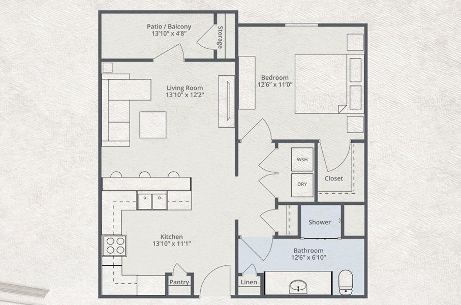 717 sq. ft. Alaska floor plan