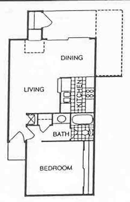 700 sq. ft. A3 floor plan